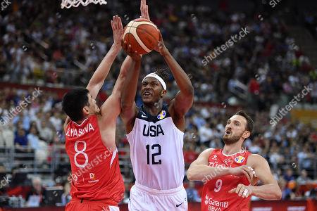 (L-R) Ersan Ilyasova (TUR), Myles Turner (USA), Semih Erden (TUR) - Basketball : FIBA Basketball World Cup China 2019 Group E match between United States 93-92 Turkey at Shanghai Oriental Sports Center