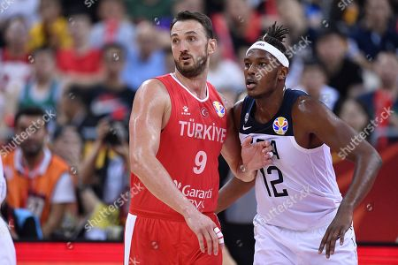 (L-R) Semih Erden (TUR), Myles Turner (USA) - Basketball : FIBA Basketball World Cup China 2019 Group E match between United States 93-92 Turkey at Shanghai Oriental Sports Center