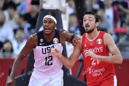 (L-R) Myles Turner (USA), Sertac Sanli (TUR) - Basketball : FIBA Basketball World Cup China 2019 Group E match between United States 93-92 Turkey at Shanghai Oriental Sports Center