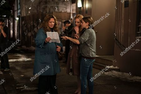 Stock Image of Melissa McCarthy as Kathy Brennan, Elisabeth Moss as Claire Walsh and Andrea Berloff Director