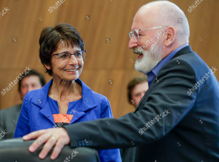 European Commissioner for Employment, Social Affairs, Skills and Labour Mobility Marianne Thyssen (L) and Dutch Frans Timmermans, First Vice President of the European Commission and Commissioner for Better Regulation, Inter-Institutional Relations, Rule of Law and Charter of Fundamental Rights attend the weekly college meeting of the European Commission in Brussels, Belgium, 04 September 2019.