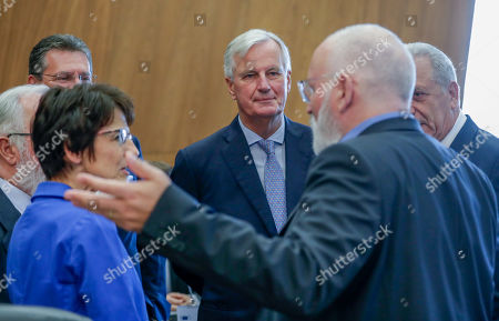 European Commissioner for Employment, Social Affairs, Skills and Labour Mobility Marianne Thyssen (L), European Union chief Brexit negotiator Michel Barnier  (C) and Dutch Frans Timmermans, First Vice President of the European Commission and Commissioner for Better Regulation, Inter-Institutional Relations, Rule of Law and Charter of Fundamental Rights attend the weekly college meeting of the European Commission in Brussels, Belgium, 04 September 2019.