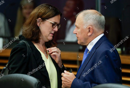 European Commissioner for Trade Cecilia Malmstrom (L) and EU Commissioner for Health and Food safety Vytenis Andriukaitis attend the weekly college meeting of the European Commission in Brussels, Belgium, 04 September 2019.