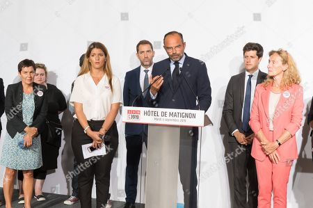French Junior Health Minister, Christelle Dubos, French Overseas Minister Annick Girardin, Sandrine Bouchait, French Minister in charge of Equality between Men and Women Marlene Schiappa, Lucien Douib, French Interior Minister Christophe Castaner, French Prime Minister Edouard Philippe, French Housing minister Julien Denormandie and French Justice Minister Nicole Belloubet, during the launch of a multiparty debate on domestic violence called 'Grenelle des violences conjugales'