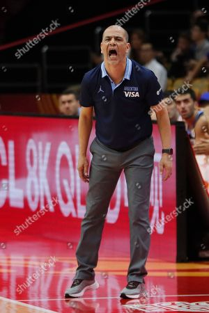 Argentina's head coach Sergio Hernandez reacts during the FIBA Basketball World Cup 2019 match between Argentina and Russia in Wuhan, China, 04 September 2019.