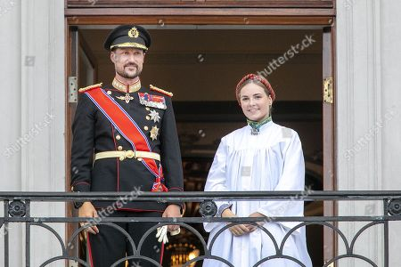 Stock Image of Crown Prince Haakon and Princess Ingrid Alexandra on the balcony, after her confirmation in the Palace Chapel at the Royal Palace Oslo