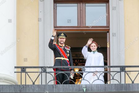 Crown Prince Haakon and Princess Ingrid Alexandra on the balcony, after her confirmation in the Palace Chapel at the Royal Palace Oslo