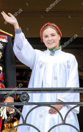 Stock Photo of Princess Ingrid Alexandra on the balcony, after her confirmation in the Palace Chapel at the Royal Palace Oslo