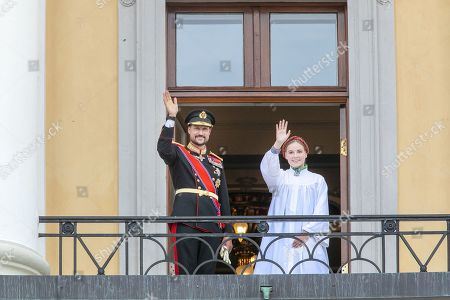 Stock Picture of Crown Prince Haakon and Princess Ingrid Alexandra on the balcony, after her confirmation in the Palace Chapel at the Royal Palace Oslo