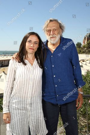 Giulia Pedroni, Gino Strada. Nurse Giulia Pedroni, left, Emergency founder Gino Strada pose for portraits for the film 'Beyond The Beach' at the 76th edition of the Venice Film Festival in Venice, Italy