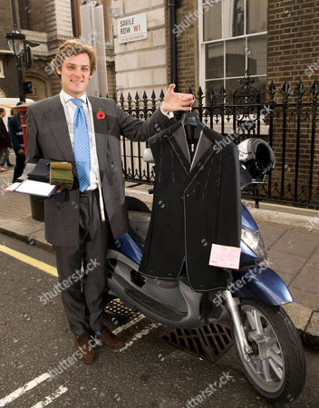 Editorial picture of Mobile taylor, Charlie Collingwood and his scooter in Savile Row, London, Britain - 29 Oct 2009