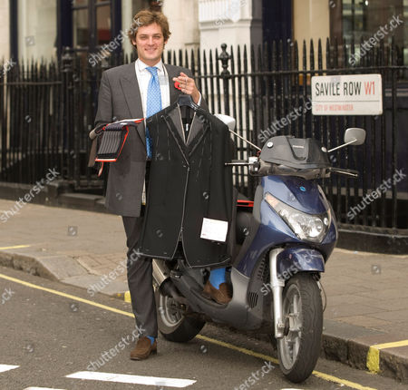 Editorial image of Mobile taylor, Charlie Collingwood and his scooter in Savile Row, London, Britain - 29 Oct 2009