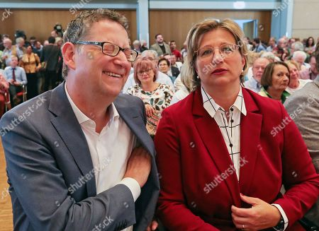 Deputy Leader of the German Social Democratic Party (SPD) Thorsten Schaefer-Guembel (L) and SPD Chairwoman in Saarland Anke Rehlinger (R) during presentation of candidates at the start of the tour to present the candidates for the election of the SPD party leadership in Saarbruecken, Germany, 04 September 2019.