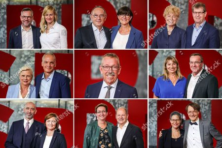 Stock Picture of A composite image shows the 17 candidates for the Social Democrats (SPD) party chair at the start of the tour to present the candidates for SPD party leadership in Saarbruecken, Germany, 04 September 2019. (top L-R) Michael Roth and Christina Kampmann, Norbert Walter-Borjans and Saskia Esken, Gesine Schwan and Ralf Stegner, (middle L-R) Hilde Matheis and Dierk Hirschel, Karl-Heinz Brunner, Petra Koepping and Boris Pistorius, (bottom L-R) Alexander Ahrens and Simone Lange, Klara Geywitz and Olaf Scholz, and Nina Scheer and Karl Lauterbach.