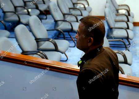 On, Nicanor Faeldon, the Director General of the Bureau of Corrections, arrives to testify before the Senate Committee on Justice and Human Rights on his role in the failed release of former Mayor Antonio Sanchez, who was convicted in the rape and murders of two students in 1993, in suburban Pasay city south of Manila, Philippines. Philippine President Rodrigo Duterte has fired Faeldon Wednesday, Sept. 4, 2019 amid a public outcry over the release of hundreds of prisoners, including convicted rapists and drug traffickers, through a law rewarding good behavior in detention