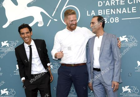 Matthew Michael Carnahan (C), Iraqi actor Suhail Dabbach (R) and actor Adam Bessa (L), pose at a photocall for 'Mosul' during the 76th annual Venice International Film Festival, in Venice, Italy, 04 September 2019. The movie is presented out of competition at the festival running from 28 August to 07 September.