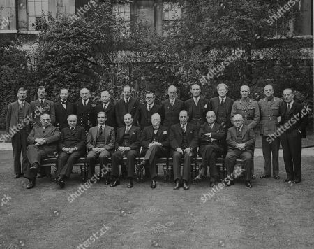 WWII: Britain: War Councils. picture shows the War Cabinet, and others who generally attend the meetings.Front row L-R: Ernest Bevin, Lord Beaverbrook, Anthony Eden, Winston Churchill, Sir John Anderson, Mr A. Greenwood, Sir Kingsley Wood. Back row L-R: Sir Edward Bridges, Sir Charles Portal, Sir Archibald Sinclair, Admiral of the Fleet Sir Dudley Pound, Mr Alexander, Lord Cranborne, Herbert Morrison, Lord Moyne, Captain David Margesson, Brendan Bracken, Sir John Dill, Maj.-Gen. Sir Hastings Ismay, and Sir Alexander Cadogan