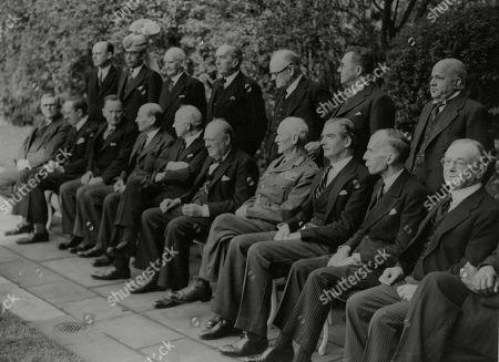 WWII: Britain: War Councils.Dominion Prime Ministers at No.10 Downing Street. picture shows: L-R seated: Dr Evatt (Aust.), Lord Cranborne, Mr Frank Forde (Australia), (Mr Clement Attlee, Mr Peter Fraser (N.Z.), Mr Winston Churchill, Field Marshal Jan Smuts (S. Africa), Mr Anthony Eden, Mr Massey (Canada) and Mr Amery.Standing L-R: Mr Hume Wrong (Canada), Mr F. K. Noon (Pakistan), Mr Heaton Nicholls (S. Africa), Mr Bruce (Australia), Mr Jordan, Mr Berendsen, Sir V. T. Krishnamachariar