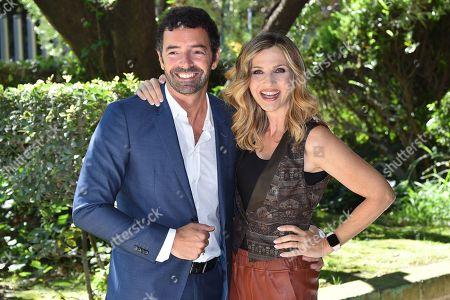 Stock Photo of Alberto Matano and Lorella Cuccarini