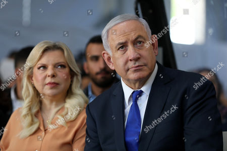 Stock Picture of Israeli Prime Minister Benjamin Netanyahu and his wife Sara attend a memorial ceremony marking the 90th anniversary of the 1929 Hebron massacre events at the Cave of the Patriarchs in the West Bank city of Hebron, 04 September 2019. The Hebron massacre refers to the killing of 67 Jews in 1929 during the Palestinians riot events following a dispute between Jews and Muslims over the access to the Western Wall by Jewish worshipers.