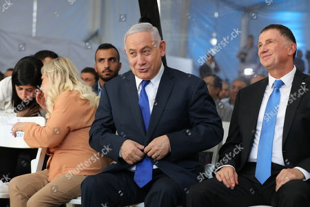 Stock Image of Israeli Prime Minister Benjamin Netanyahu (C) and his wife Sara (2-L) attend a memorial ceremony marking the 90th anniversary of the 1929 Hebron massacre events at the Cave of the Patriarchs in the West Bank city of Hebron, 04 September 2019. The Hebron massacre refers to the killing of 67 Jews in 1929 during the Palestinians riot events following a dispute between Jews and Muslims over the access to the Western Wall by Jewish worshipers.