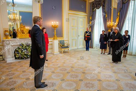Stock Image of Presentation of the credentials (Geloofsbrieven) of Ambassador of the Republic of Angola, H.E. Ms Maria Isabel Gomes Godinho the Resende Encoge to King Willem-Alexander at palace Noordeinde in The Hague.