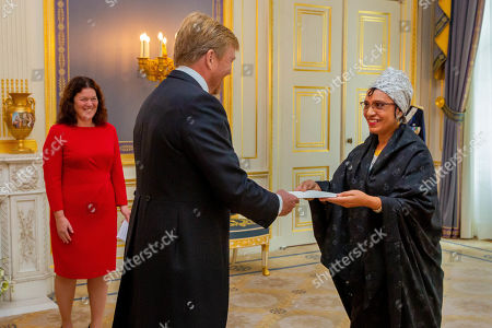 Presentation of the credentials (Geloofsbrieven) of Ambassador of the Republic of Angola, H.E. Ms Maria Isabel Gomes Godinho the Resende Encoge to King Willem-Alexander at palace Noordeinde in The Hague.