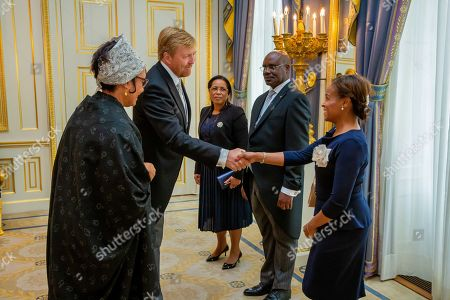 Stock Picture of Presentation of the credentials (Geloofsbrieven) of Ambassador of the Republic of Angola, H.E. Ms Maria Isabel Gomes Godinho the Resende Encoge to King Willem-Alexander at palace Noordeinde in The Hague.