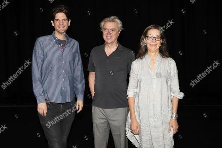 "Alex Timbers, David Byrne, Annie-B Parson. Alex Timbers, from left, David Byrne, and Annie-B Parson attend ""David Byrne's American Utopia"" Broadway press meet and greet at New York Live Arts, in New York"