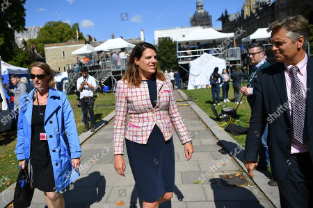 Stock Photo of Caroline Nokes MP on College Green, Westminster.