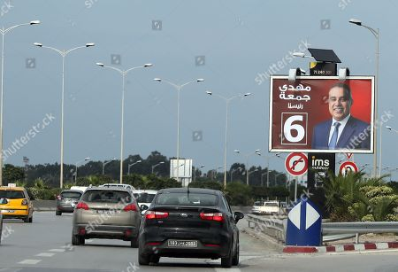 Stock Picture of An election poster of Former Tunisian prime minister and presidential candidate of 'Al Badil' party Mehdi Jomaa in Tunis, Tunisia, 04 September 2019. The election campaign will run from 02 to 13 September. The first round of the presidential election in Tunisia will be held on 15 September.