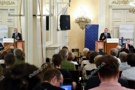 Former Prime Minister of Australia Tony Abbott delivers a lecture entitled 'Immigration: What Europe can learn from Australia' in Petofi Museum of Literature in the company of former Hungarian ambassador to Australia Gabor Csaba (R) in Budapest, Hungary, 04 September 2019.