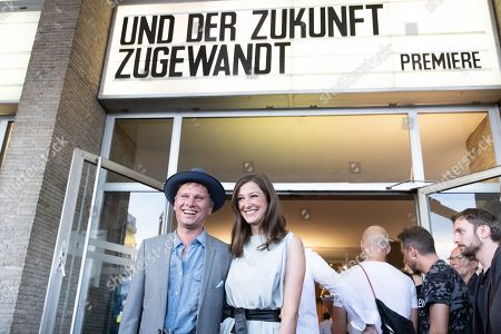 Robert Stadlober (L) and German-Romanian actress/cast member Alexandra Maria Lara (R) pose during a premiere of 'Und der Zukunft zugewandt' (Sealed Lips) at the Kino International in Berlin, Germany, 04 September 2019. The movie is scheduled to open to in German theaters on 05 September.