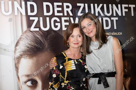 Alexandra Maria Lara (R) and German actress/cast member Barbara Schnitzler (L) pose during a premiere of 'Und der Zukunft zugewandt' (Sealed Lips) at the Kino International in Berlin, Germany, 04 September 2019. The movie is scheduled to open to in German theaters on 05 September.