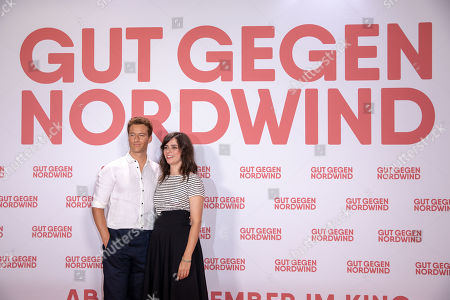Alexander Fehling (L) and Nora Tschirner (R) pose for a photo on the red carpet prior to a Family and Friends Preview of 'Gut gegen Nordwind' in Berlin, Germany, 04 September 2019. The movie opens in German theaters on 12 September.
