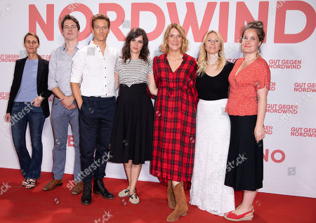 Stock Picture of Anja Doerken of Medienboard, German film producer Markus Reinecke, German actor/cast member Alexander Fehling, German actress/cast member Nora Tschirner, German film director Vanessa Jopp, German producer Johanna Bergel, German film producer France Orsenne pose for a photo on the red carpet prior to a Family and Friends Preview of 'Gut gegen Nordwind' in Berlin, Germany, 04 September 2019. The movie opens in German theaters on 12 September.