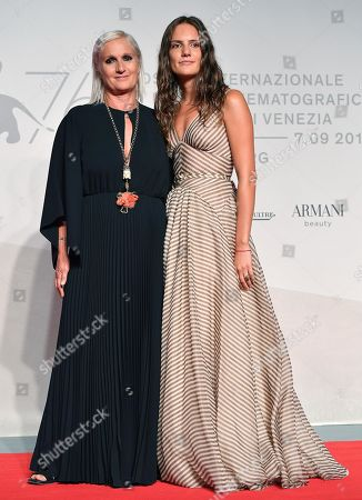 Maria Grazia Chiuri (L) and her daughter Rachele Regini arrive with a guest for the premiere of 'Chiara Ferragni - Unposted' during the 76th annual Venice International Film Festival, in Venice, Italy, 04 September 2019. The movie is presented in the 'Sconfini' section at the festival running from 28 August to 07 September.