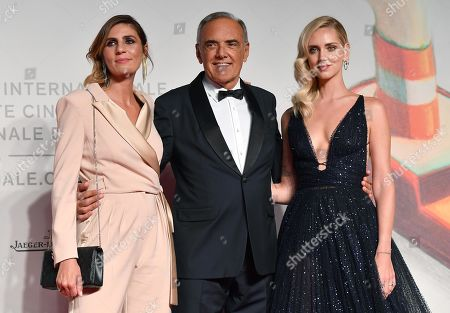 Elisa Amoruso, Festival Director Alberto Barbera and Italian fashion blogger Chiara Ferragni arrive for the premiere of 'Chiara Ferragni - Unposted' during the 76th annual Venice International Film Festival, in Venice, Italy, 04 September 2019. The movie is presented in the 'Sconfini' section at the festival running from 28 August to 07 September.