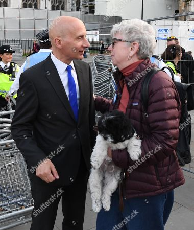 Lord Adonis (L) speaks to a protester outside the Houses of Parliament in London, Britain, 04 September 2019. Britain's Prime Minister Boris Johnson faces a series of votes in Parliament this afternoon where Members of Parliament will vote on a range of measures including delaying a 'No Deal Brexit' on 31 October.