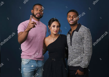 """Trevor Jackson, Francia Raisa, Diggy Simmons. This photo, Trevor Jackson, from left, Francia Raisa and Diggy Simmons, cast members in the Freeform series """"grown-ish,"""" pose for a portrait in Burbank, Calif"""