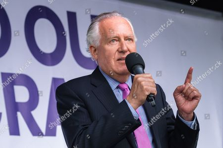 Stock Photo of Lord Peter Hain speaks to thousands of pro-EU demonstrators gathered for a cross-party rally in Parliament Square, organised by the People's Vote Campaign, to protest against Boris Johnson's Brexit strategy which involves leaving the EU on 31 October 2019 with or without an exit deal.