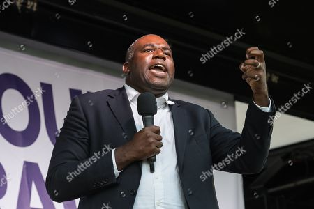 Labour Party MP David Lammy speaks to thousands of pro-EU demonstrators gathered for a cross-party rally in Parliament Square, organised by the People's Vote Campaign, to protest against Boris Johnson's Brexit strategy which involves leaving the EU on 31 October 2019 with or without an exit deal.