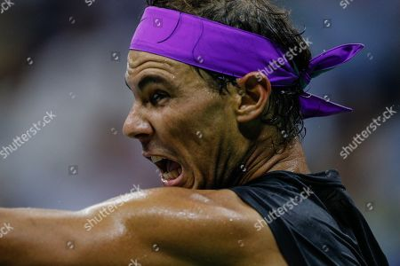 Rafael Nadal of Spain in action against Diego Schwartzman of Argentina during a match on the 10th day of the US Open Tennis Championships at the USTA National Tennis Center in Flushing Meadows, New York, USA, 04 September 2019. The US Open runs from 26 August through to 08 September 2019.