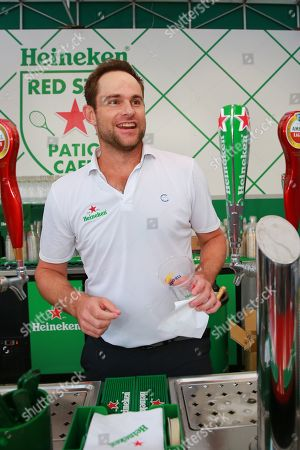 Andy Roddick stops by the Heineken Red Star Patio Cafe at the U.S. Open