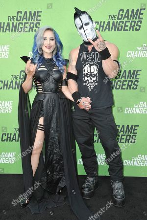 "Doyle Wolfgang von Frankenstein, Alissa White Gluz. Doyle Wolfgang von Frankenstein, left, and Alissa White Gluz attend the LA premiere of ""The Game Changers"" at ArcLight Cinemas Hollywood, in Los Angeles"