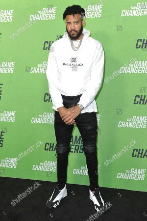 "JaVale McGee attends the LA premiere of ""The Game Changers"" at ArcLight Cinemas Hollywood, in Los Angeles"