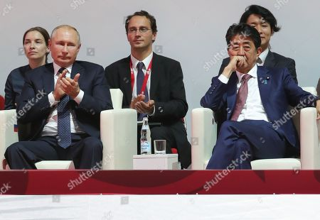Russian President Vladimir Putin (front L) and Japanese Prime Minister Shinzo Abe (front R) attend International Jigoro Kano Judo tournament on the sidelines the Eastern Economic Forum 2019 in Vladivostok, Russia, 05 September 2019. The far-eastern Russian city of Vladivostok hosts the Eastern Economic Forum 2019 from 4 to 6 September.