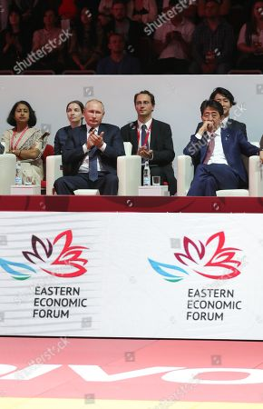 Russian President Vladimir Putin (front 2-R) and Japanese Prime Minister Shinzo Abe (front R) attend International Jigoro Kano Judo tournament on the sidelines the Eastern Economic Forum 2019 in Vladivostok, Russia, 05 September 2019. The far-eastern Russian city of Vladivostok hosts the Eastern Economic Forum 2019 from 4 to 6 September.