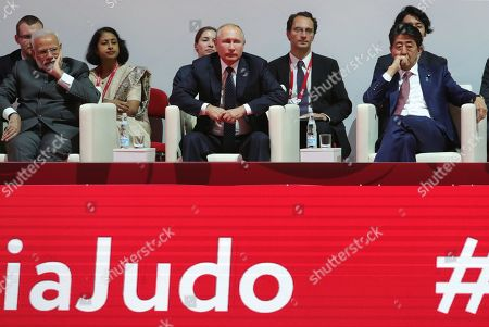 Indian Prime Minister Narendra Modi (front L), Russian President Vladimir Putin (front C) and Japanese Prime Minister Shinzo Abe (front R) attend International Jigoro Kano Judo tournament on the sidelines the Eastern Economic Forum 2019 in Vladivostok, Russia, 05 September 2019. The far-eastern Russian city of Vladivostok hosts the Eastern Economic Forum 2019 from 4 to 6 September.