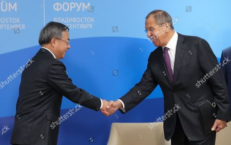Chinese Vice Premier Hu Chunhua (L) shakes hands with Russian Foreign Minister Sergei Lavrov (R) prior to a meeting with Russian President Putin on the sidelines of the Eastern Economic Forum 2019 Vladivostok, Russia, 05 September 2019. The Eastern Economic Forum 2019 takes place in Vladivostok from 04 to 06 September.